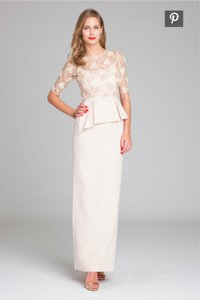 Rickie Freeman For Teri Jon Blush/Champagne Beaded Lace And Crepe Rickie Freedman Teri Jon Dress