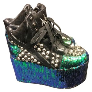 YRU Black/Silver/Blue/Green Platforms