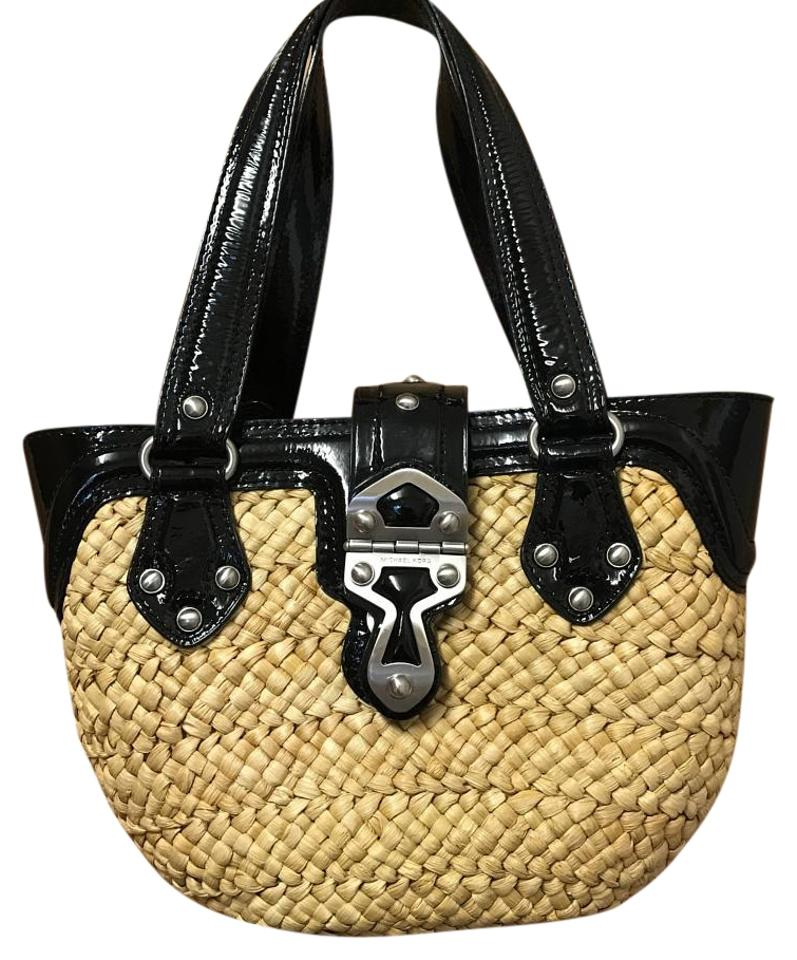 685554ae125f MICHAEL Michael Kors Straw/Leather Straw/Black Straw/Patent Leather Tote