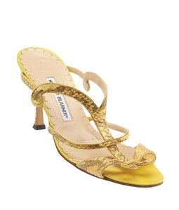 Manolo Blahnik Snakeskin Heels Yellow Sandals