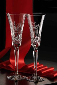 2 Waterford Crystal 1st Edition 12 Days Of Christmas Partridge Flutes