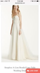 David's Bridal Wg3586 Strapless A-line Beaded Lace Tulle Wedding Dress