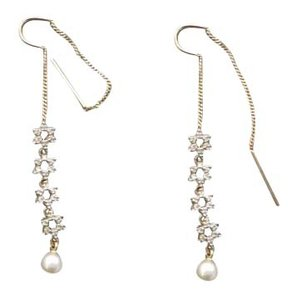 10k Gold Diamond & Pearl Drop Earrings