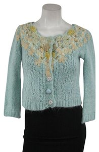 Free People Embroidered Beaded Cropped Wool Sweater