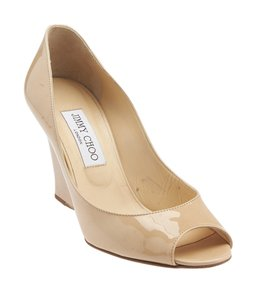 Jimmy Choo Patent Leather Beige Wedges