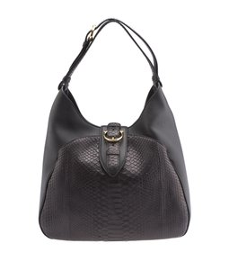Salvatore Ferragamo Leather Snakeskin Hobo Shoulder Bag