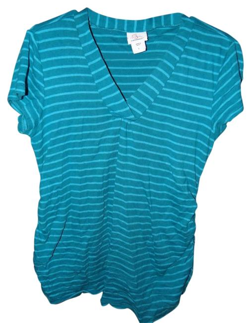 Preload https://img-static.tradesy.com/item/202855/motherhood-maternity-teal-striped-and-rouched-maternity-tee-shirt-size-12-l-31-32-0-0-650-650.jpg