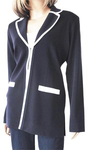 Misook Knit Ribbed Navy with White Trim Jacket