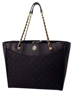 Tory Burch Quilted Leather Robinson Neverfull Tote in Black