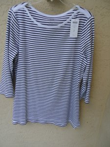 Chico's Boat Neck Julia Size M/l 12-14 3/4 Sleeve $45 Tag T Shirt INK