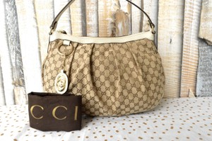 Gucci Ruched Canvas Hobo Bag
