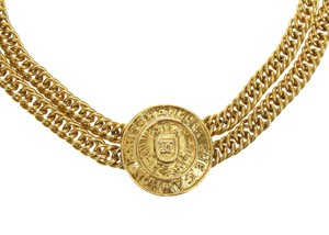 Chanel Vintage Gold Double Strand Chain Medallion Choker
