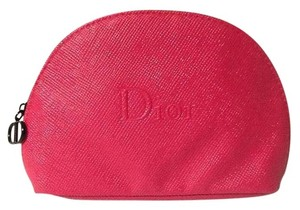 Dior Christian Dior Red Faux Leather Cosmetics Makeup Bag Case Pouch Sac
