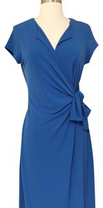 New York & Company short dress Blue Knit A-line Faux Wrap Versatile on Tradesy