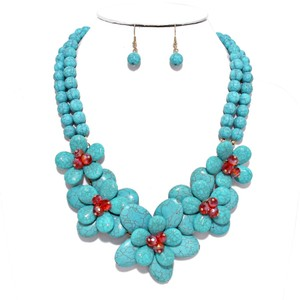 Turquoise Floral Beads Statement Bib Collar Necklace