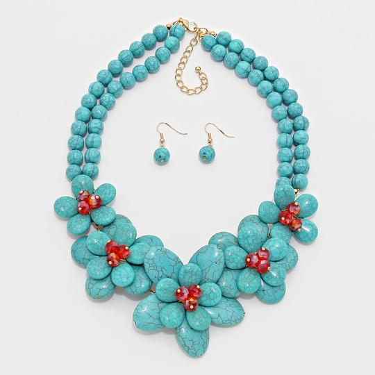 Other Turquoise Floral Beads Statement Bib Collar Necklace Image 1