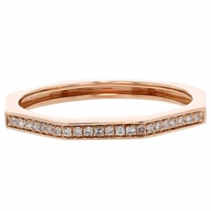 Other 0.08ct Pave Diamond 14k Rose Gold Octagonal Ring Si1-si2 G-h