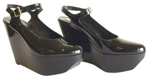 Robert Clergerie Patent Leather Round Toe Platform Ankle Strap Black Wedges