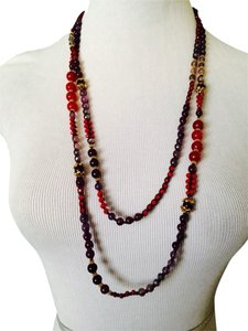 Nakamol Shades Of Burgundy Beaded Wrap Necklace