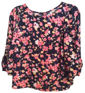 LC Lauren Conrad Polyester Top Navy blue with floral design
