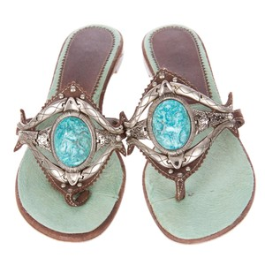 Giuseppe Zanotti Silver Turquoise Ponyhair Turquoise/Silver/Brown Sandals
