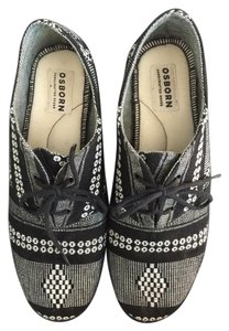 Osborn Handmade Handcrafted Urban Outfitters Black and White pattern Flats