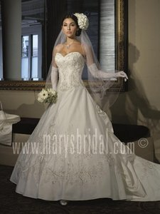 Mary's Bridal White / Silver Satin Couture D'amour 8611 Formal Wedding Dress Size 8 (M)