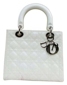 Dior Lady Purse Clutch Tote in Off White