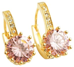 Other Gold Plated Pink Zirconia Hoop Earrings