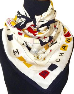 "Chanel AUTH VINTAGE CHANEL MULTI COLORED PRINT SCARF ""CC"" COLLAGE COLLECTION"