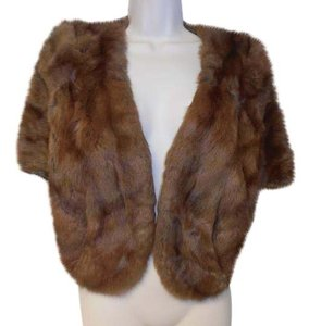 Elder's Dayton Vintage Redish/Brown mink Fur Satin Lined Shawl Stole