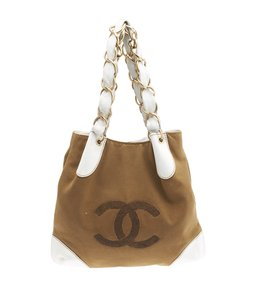 Chanel Canvas Tote in Brown & White