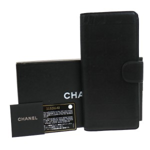 Chanel CC Logos NewTravel Line Bifold Wallet Black Nylon Mens Clutch Bag