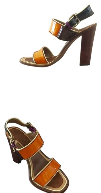 Item - Orange Black Purple Purple & Beige Strappy Slingback Sandals Size US 7 Regular (M, B)