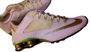 Nike Shox White Gold White, Gold, Lime Athletic