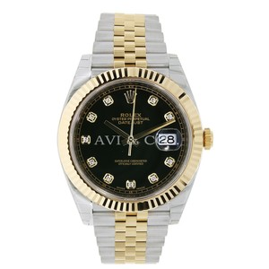 Rolex Rolex Datejust 41 Steel & Gold Black Diamond Dial Jubilee Bracelet