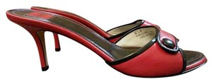 Coach Clare Heels Leather Red Sandals