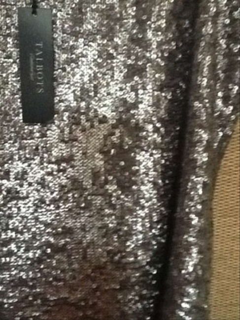 Talbots Sequin Sleeveless Top Silver