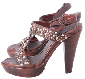 Frye Vintage Studded Leather Vintage Brown Sandals