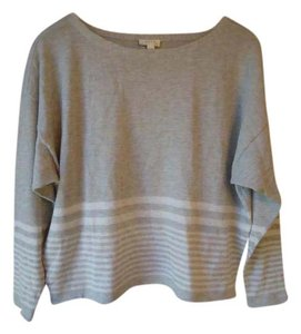 Joie Striped Gray Cream Knit Sweater