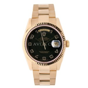 Rolex Rolex Day-Date 36 18K Everose Gold Watch Black Arabic Dial