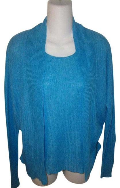Eileen Fisher Blue Linen Ribbed Cardigan/Shell Sweater Set Cardigan Size 6 (S) Eileen Fisher Blue Linen Ribbed Cardigan/Shell Sweater Set Cardigan Size 6 (S) Image 1