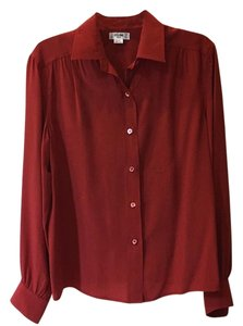 Céline Vintage Silk Top Red