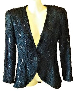 Cathy Hardwick Vintage Lace Sequins Ribbon Embroidery Designer Black Blazer