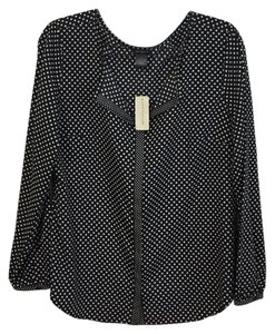 Ann Taylor Button Down Shirt Black and white
