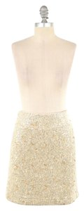 Ann Taylor Textured Boucle Yarn Pencil Mini Mini Skirt Champagne