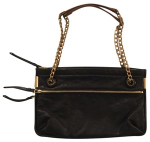 Lanvin Gold Tone Leather Chain Zipper Cross Body Bag