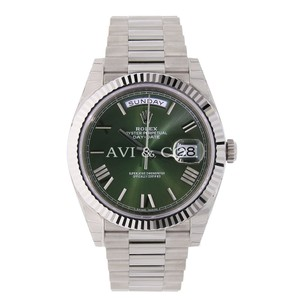 Rolex Rolex Day-Date 40 18K White Gold Watch Olive Roman Dial 228239