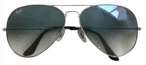 Ray-Ban NEW!Large Aviator Sunglass Silver Crystal Light Blue Gradient