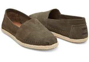 TOMS Rope Sole Tarmac Olive Flats